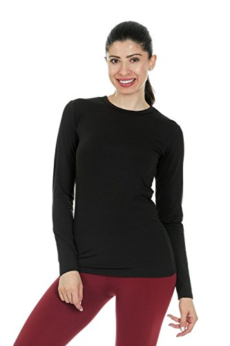 Top Sleeve Long Girls Thermal (Thermajane Women's Ultra Soft Thermal Shirt – Compression Baselayer Crew Neck Top – Fleece Lined Long Sleeve Underwear T Shirt (Black, X-Small))