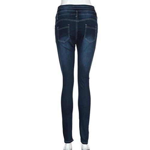 Sottili della Denim Blu I Attillati a dei del Hanno Donna ASHOP Alta Jeans Matita Sottili Scuro Strappato Vita Donna Strappati Pantaloni Jeans Jeans Jeans qT7wBO