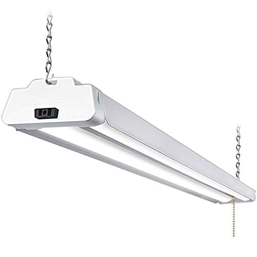 Hykolity 5000K LED Shop Light Linkable, 4FT Daylight 42W LED Ceiling Lights for Garages, Workshops, Basements, Hanging or FlushMount, with Plug and Pull Chain, 3700lm, ETL- 1 Pack Cord Fluorescent Work Light