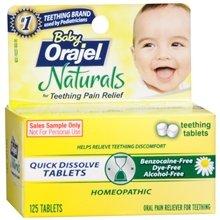 Bébé Orajel Naturals orale soulagement de la douleur pour la dentition rapide Comprimés Dissoudre 125,0 ch. (Quantité de 5)