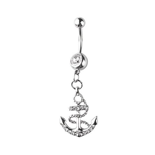 316L Surgical Steel Body Jewelry Rhinestone Anchor Dangle Button Barbell Belly Navel Ring Bar Piercing