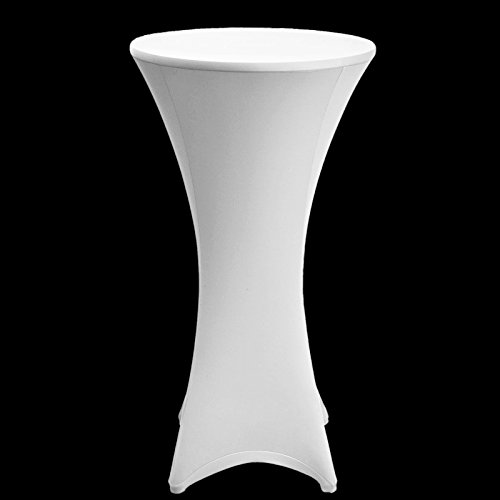 Vlovelife White 80cm Lycra Stretch Cocktail Poseur Dry Bar Spandex Table Cover Round Table Cloth Wedding Party Event Decorations