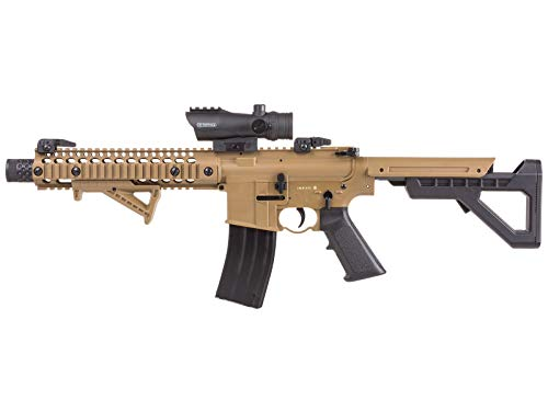 Crosman DPMS SBR Full Auto CO2 Air Rifle, 177 Caliber BB Flat Dark Earth Synthetic Stock Bundle with CenterPoint Optics 72607 Large Battle Sight 1x30mm Enclosed Reflex with Red Dot