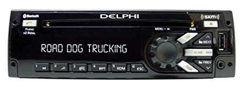 Delphi Heavy-Duty AM/FM/MP3/WMA/WB CD Player with Front Panel USB Port, Integrated SXM Satellite Radio and Integrated Blue Tooth (Green/Amber)