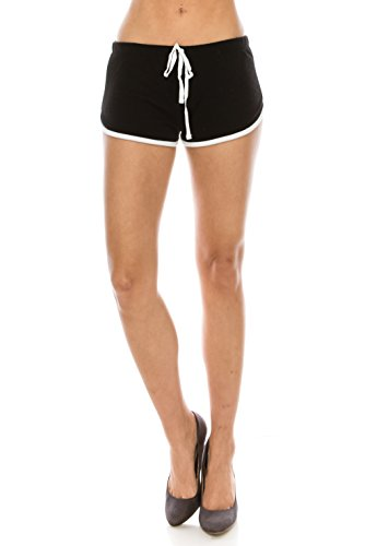 The Classic Women Summer Sports Shorts Fitness Workout Yoga Running Waistband Dolphin Pants Bottoms (Large, 67153_Black)