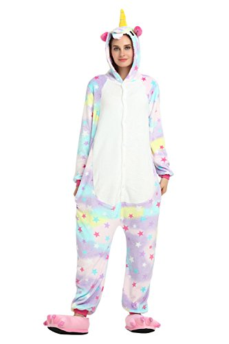 Kids Unisex Cosplay Pajamas Onesie Unicorn Costume (Age:7-8Years (Height 47.2-51.2 Inch), Star Unicorn)