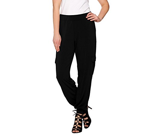 Lisa Rinna Collection Petite Banded Bottom Pants A275986  Black  Pl