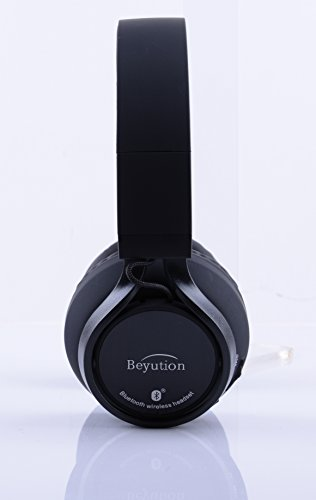 Beyution Black Metal Wireless Bluetooth Headsets Over Ear Bluetooth Headphones with Mic for iPhone 8 X Samsung Smart Phones and All Tablet Laptop with Bluetooth Funcstion (BT525-Black-Metal) by Beyution (Image #3)