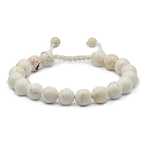 AD Beads Natural 10mm Gemstone Bracelets Healing Power Crystal Macrame Adjustable 7-9 Inch (White Turquoise)