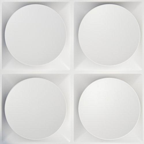 Easy Peel & Stick, Durable Plastic Textured Decorative 3D Wall Panel - CIRCLE Design. 12 Panels. 32 -