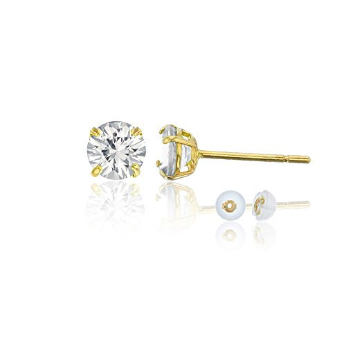 14K Yellow Gold 4mm Round White Sapphire Stud Earring by Decadence