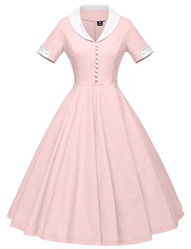 GownTown Womens 1950s Cape Collar Vintage Swing Stretchy Dresses, Pink, Large -