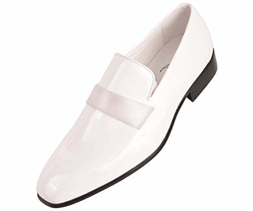Amali Mens White Classic Patent Tuxedo Slip On Dress Shoe with Patent...