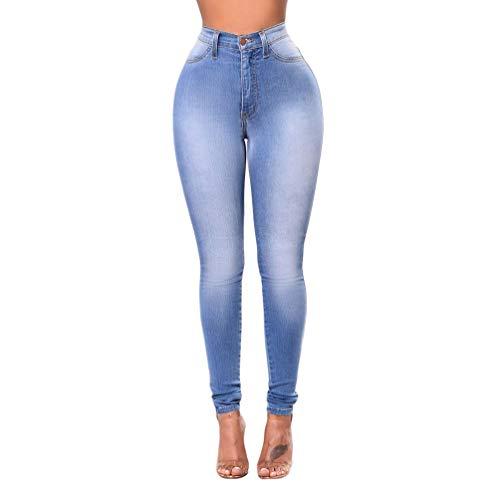 Cayuan Mujeres Vaqueros Cintura Alta Elástico Skinny Pantalones Jeans Flaco Push up Mezclilla Pantalones Lápiz Leggings Ocio Azul Claro