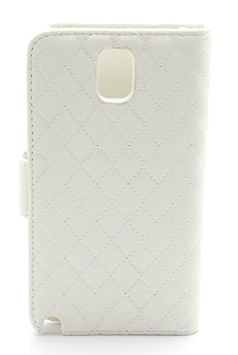 ZZYBIA® NOTE III 3 QCD Leatherette Stand Case Card Holder Wallet with Dog Fringed Dust Plug Charm for Samsung Galaxy Note III 3 N9000 N9005 (off white)