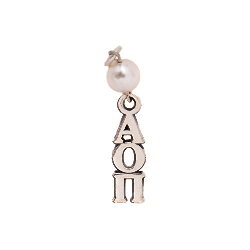 Alpha Omicron Pi Sorority Pearl Sterling Silver Lavalier with 18 Inch Chain Officially Licensed Necklace aoii - Fraternity Sorority Pearls