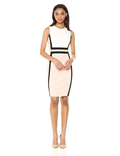Sheath Women's Color 18 Cream Dress Calvin Multi Sleeveless Block Klein Blush gXxw54
