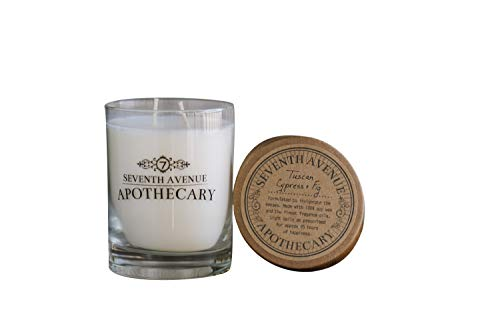 Seventh Avenue Apothecary Apothecary Glass Jar Double Wick 14 Ounce Aromatherapy Soy Candle (Tuscan Cypress & Fig)
