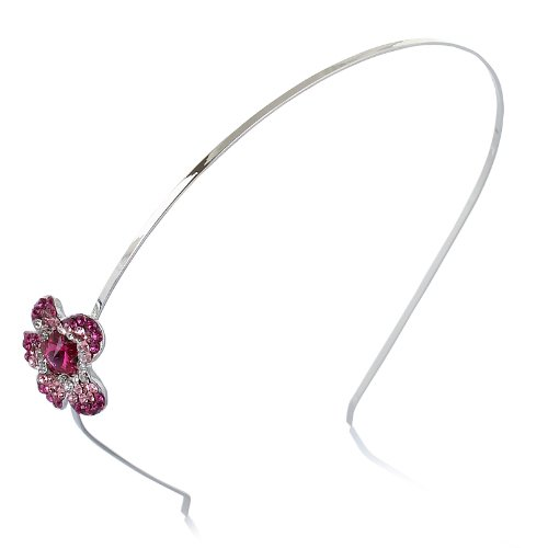 Janeo Genuine Swarovski Crystal Elements Fuchsia Floral Hair Band in Silver Rhodium Plating Options. A Real Royal Style Elegant Design for a Very Special Occasion. Classic Victorian Vintage Design. Great Price. Quality Jewellery Using Finest Crystals and Semi-Precious Metals. Beauty Swarovski Fuchsia Pink Crystal