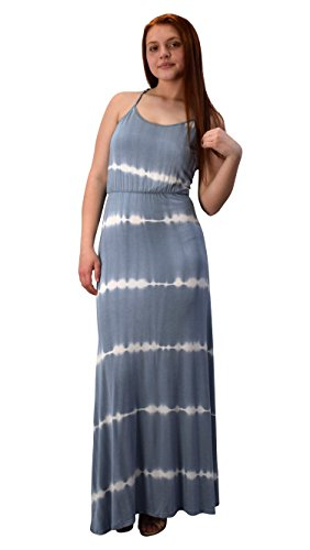 - Peach Couture Spaghetti Strap Scoop Neck Gathered Waist Tie Dye Summer Maxi Dress Grey Small