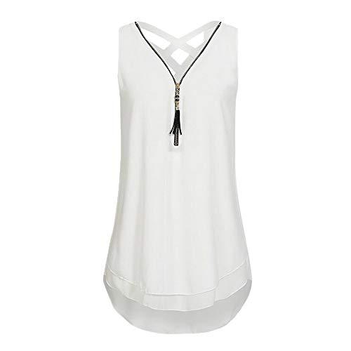(ASOBIMONO Women's Sleeveless Layed Tank Tops Cross Back Strappy Tee Loose Fringed Zipper Vest Plus Size Chiffon T Shirts White)