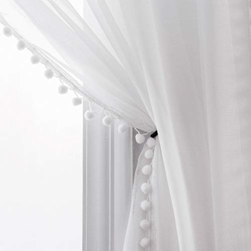 Selectex Linen Look Pom Pom Tasseled Sheer Curtains - Rod Pocket Voile Curtains for Living and Bedroom, Set of 2 Curtain Panels (52 x 84 inch, White) (Pom Curtains Pom)