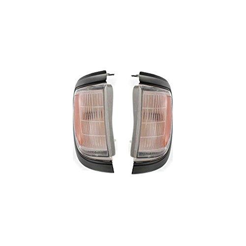 Lens Gray Plastic (Evan-Fischer EVA20572055957 Corner Light Set of 2 Passenger & Driver Side RH LH Lamp Park Parking Marker Plastic lens Clear and amber DOT SAE approved With black gray trim)
