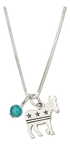 Sterling Silver 18 inch Democrat Donkey Pendant Necklace with Blue Riverstone Bead (Pendant Riverstone)
