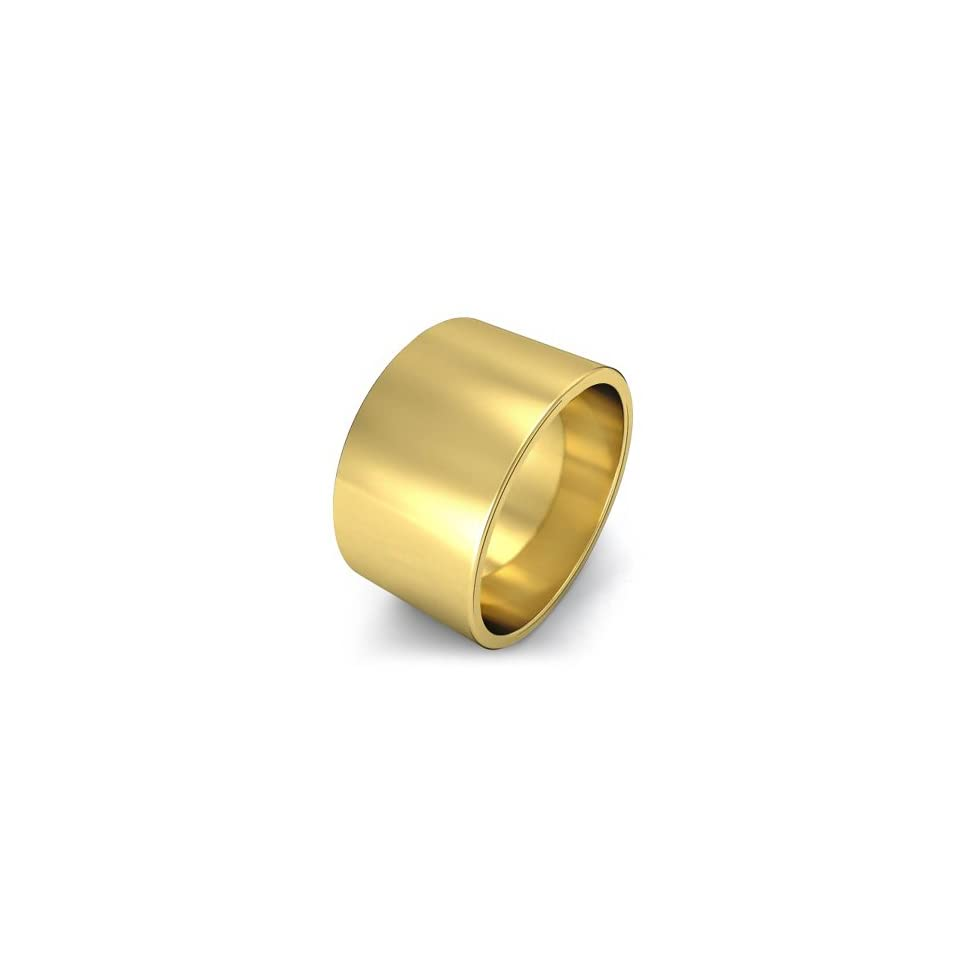 Men's Flat Wedding Band 12mm 14k Yellow Gold Ring Jewelry