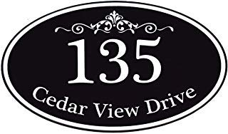 Customized Home Address Sign, Aluminum 12' x 7' Oval House Number Plaque, Personalized Color Choices Available (Black)