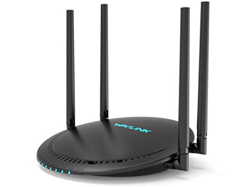 AC1200 Smart WiFi Router - WAVLINK 1200Mbps Touch Link Smart Dual Band Gigabit Wireless Internet Router,5Ghz + 2.4Ghz with 4x5dBi Omni Directional Antennas WiFi Router for Online Game&HD Video