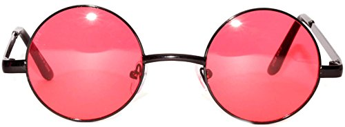 Retro Round Circle Colored Vintage Tint Sunglasses Metal Frame OWL (43mm_Black_Red, PC Lens) -