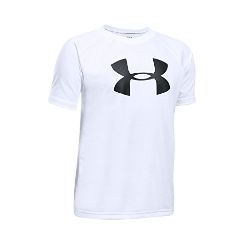 Under Armour Boys' Tech Big Logo Short Sleeve T-Shirt, White/Black, Youth X-Large