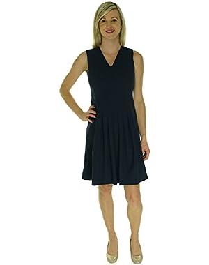 Calvin Klein Women's Sleeveless V-Neck Seamed Flared Dress