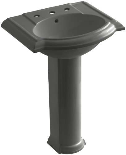 58 Thunder Grey Pedestal - KOHLER K-2286-8-58 Devonshire Pedestal Bathroom Sink with 8