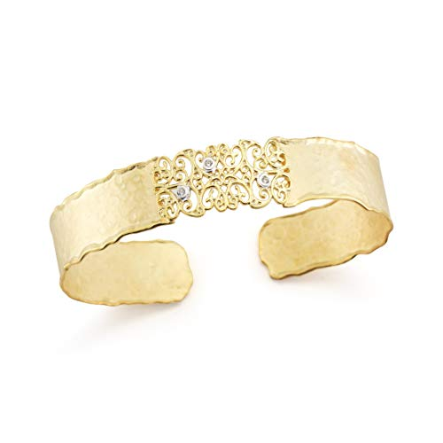 I REISS 14K Yellow Gold 0.06ct TDW Diamond Accent Hammered-Finish Narrow Cuff Bracelet ()