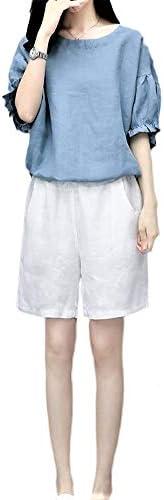 [해외]설정 숙 녀 여름 면 마 올인원 팬츠 정장 반바지 블라우스 반 팔 상하 2 점 세트 넓은 멋쟁이 / Setup Women`s Summer Cotton All-in-One Pants Shorts Blouse Short Sleeve Top and Bottom 2 Pieces Set Loose Stylish