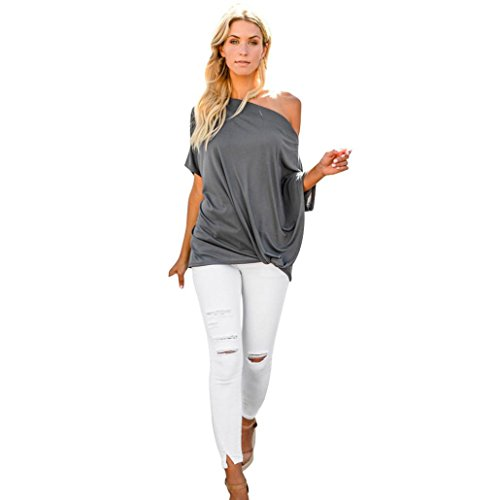 iYYVV Womens Casual Cold Shoulder Solid Crop Tops Short Sleeve T Shirt Tunic -