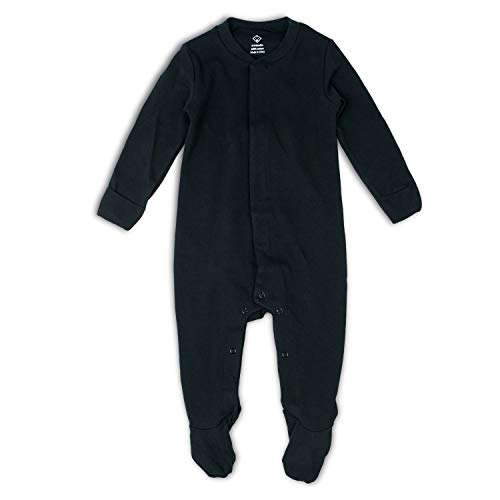 OPAWO Baby Footed Pajamas with Mittens - Infant Girls Boys Footie Onesies Sleeper (Black, 0-3 Months)