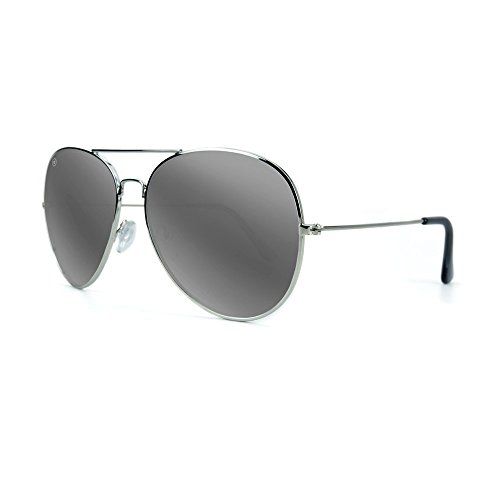 Knockaround Mile Highs XL Polarized Sunglasses, Silver Frames/ Silver Smoke - Aviator Sunglasses Xl