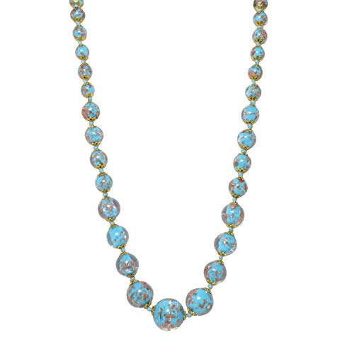 Just Give Me Jewels Genuine Venice Graduated Murano Sommerso Aventurina Glass Bead Strand Necklace in Turquoise, 19+2