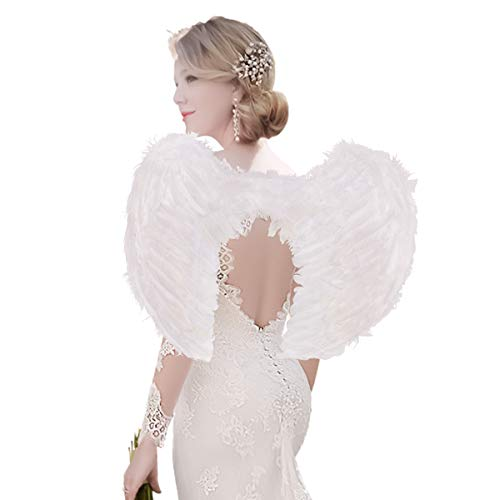 AISHN Angel Wings Feather Cosplay Halloween Party Costumes for Kids Women (Large 23.6''X 17.7'', White)