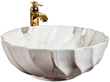 洗面ボール レトロバスルームウェーブパターンの上カウンター容器シンクアート盆地 洗面器 (Color : White, Size : 46.5x46.5x17cm)