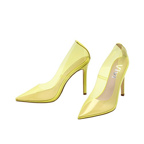 (Vivi Woman Pointed Sexy High Heel Yellow Cinderella Heel Pump Slip on Dress Shoes Size 7)