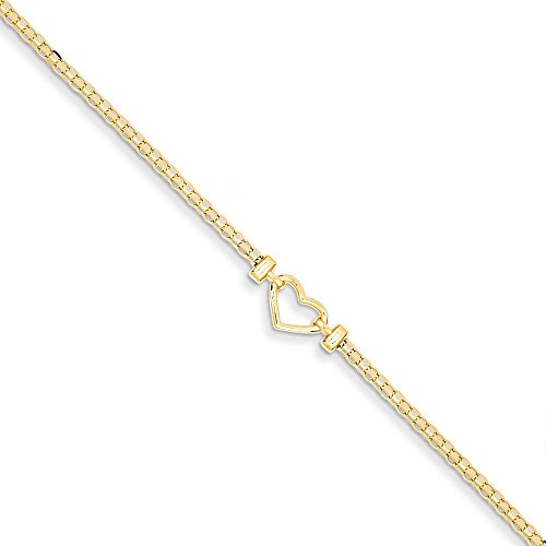 Solid 14k Yellow Gold Polished Open-Heart Anklet 10'' - with Secure Lobster Lock Clasp (6.5mm) by Sonia Jewels
