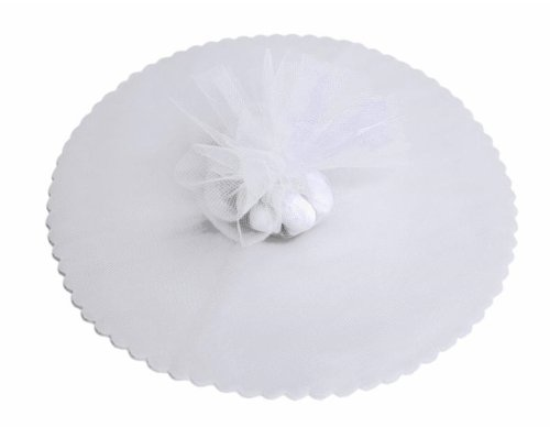 BalsaCircle 200 pcs 9-Inch White Net Tulle Fabric Circles - Wedding Party Favors Candy Wrapping Crafts Supplies