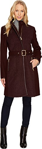 Vince Camuto Womens Belted Wool Coat N1151 Wine MD (US 8-10) One Size