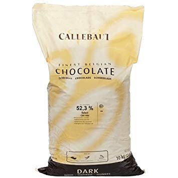 - Belgian Dark Chocolate Baking Callets (Chips) - 52.3 % - 1 bag, 22 lbs