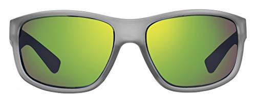 Revo Mens Polarized Sunglasses Baseliner Wraparound Frame 61 mm, Crystal Grey Frame, Green ()