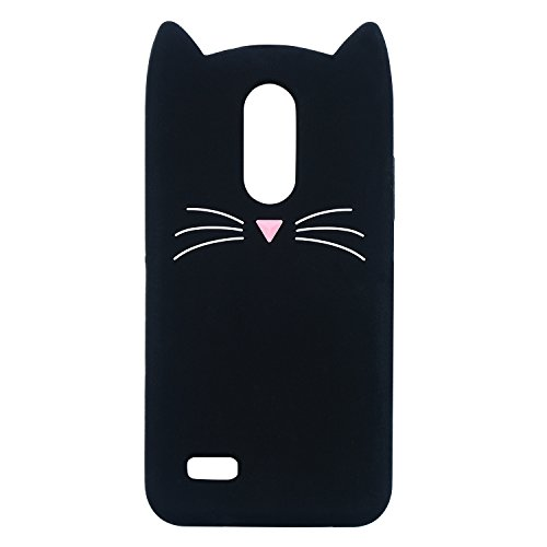 Joyleop Case for LG Fortune 2?Aristo 2 X210,Cute 3D Cartoon Animal Cover,Kids Girls Soft Silicone Kawaii Character Skin LG Zone 4,Risio 2/3,Rebel 2/3,Tribute Dynasty,Phoenix 3,K8 2018/2017 Black Cat